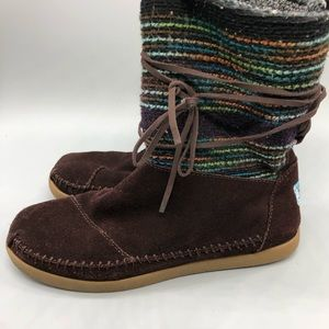 Toms Nepal suede knit lace up moccasin boots